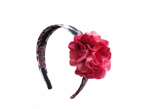 Pink Black Leopard Hard Headband with Pink Raspberry Small Geraniums