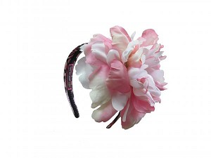 Pink Black Leopard Hard Headband with Pink White Large Peony