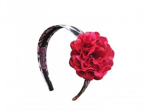 Pink Black Leopard Hard Headband with Raspberry Small Geraniums