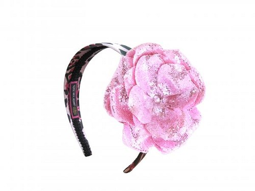 Pink Black Leopard Hard Headband with Sequins Pale Pink Rose