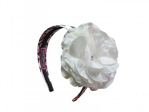 Pink Black Leopard Hard Headband with White Large Rose