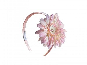 Pale Pink Hard Headband with Pale Pink Daisy