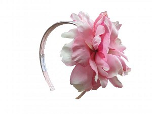 Pale Pink Hard Headband with Pale Pink Large Peony