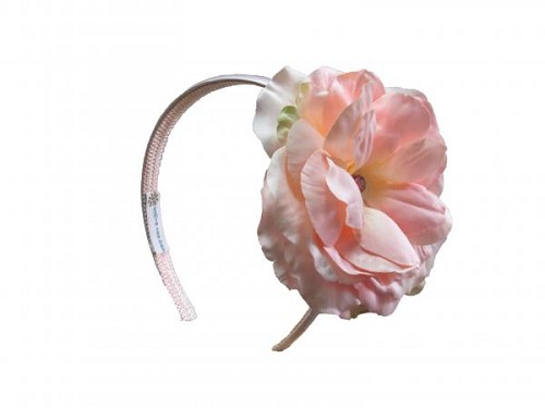 Pale Pink Hard Headband with Pale Pink Large Rose