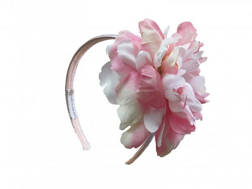 Pale Pink Hard Headband with Pink White Large Peony