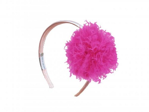 Pale Pink Hard Headband with Raspberry Large Curly Marabou