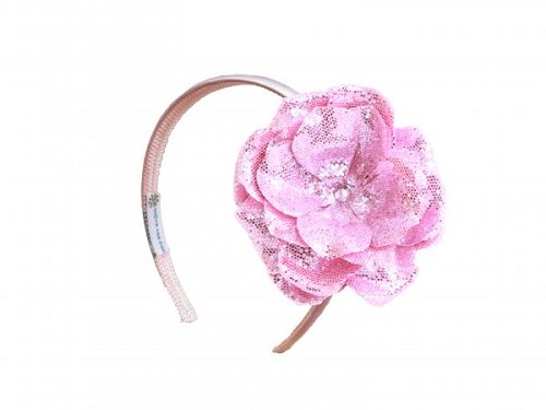 Pale Pink Hard Headband with Sequins Pale Pink Rose