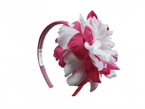 Raspberry Hard Headband with White Raspberry Large Peony
