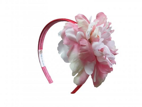 Red Hard Headband with Pink White Large Peony