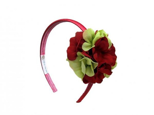 Red Hard Headband with Red Green Small Geraniums