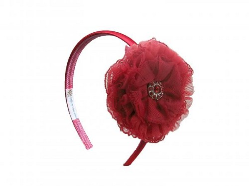 Red Hard Headband with Red Lace Rose