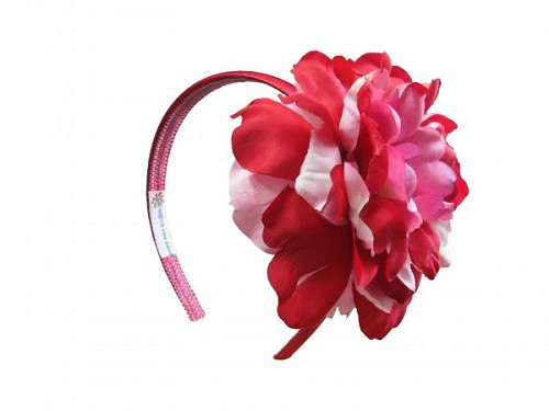 Red Hard Headband with Red Pink Large Peony