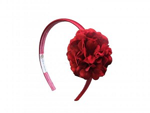 Red Hard Headband with Red Small Geraniums
