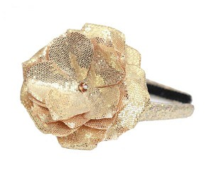 Sequins Gold Hard Headband with Sequins Gold Rose