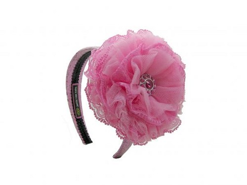 Sequins Pale Pink Hard Headband with Candy Pink Lace Rose