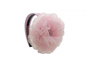 Sequins Pale Pink Hard Headband with Pale Pink Lace Rose