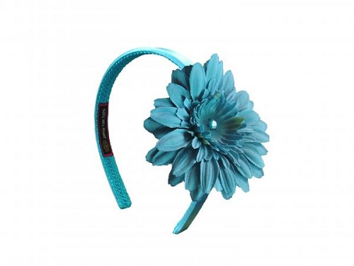 Teal Hard Headband with Teal Daisy