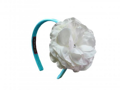 Teal Hard Headband with White Large Rose