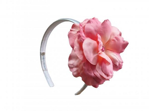 White Hard Headband with Candy Pink Large Rose