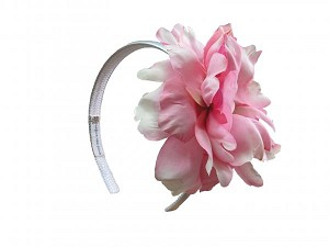 White Hard Headband with Pale Pink Large Peony