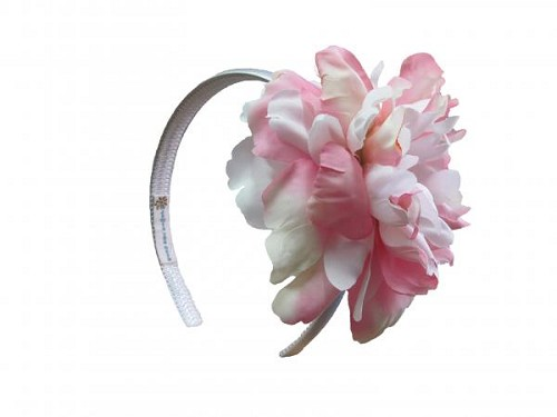 White Hard Headband with Pink White Large Peony