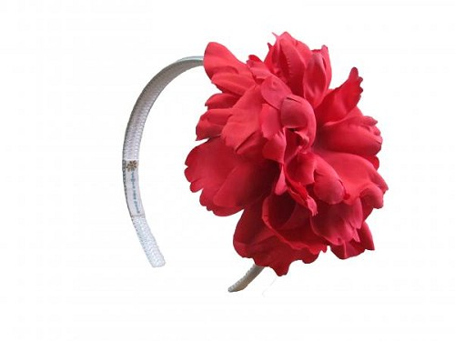 White Hard Headband with Red Large Peony