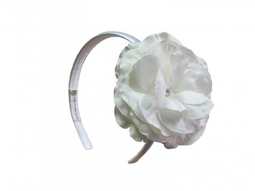 White Hard Headband with White Large Rose
