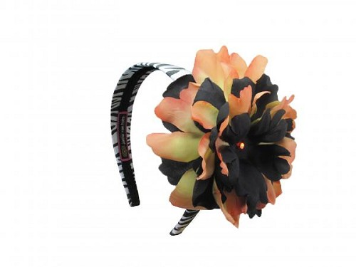 Zebra Hard Headband with Black Orange Large Peony