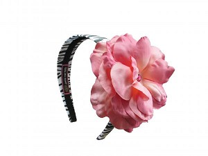 Zebra Hard Headband with Candy Pink Large Rose