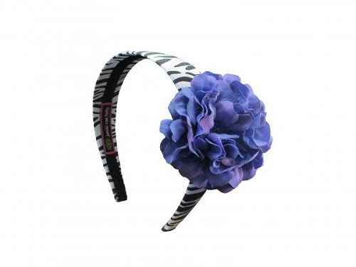 Zebra Hard Headband with Lavender Small Geraniums