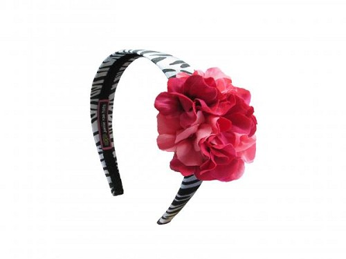 Zebra Hard Headband with Pink Raspberry Small Geraniums