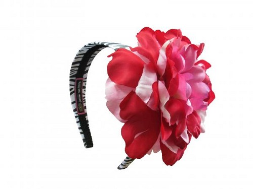 Zebra Hard Headband with Red Pink Large Peony