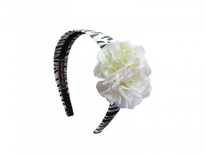 Zebra Hard Headband with White Small Geraniums