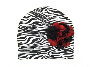 Black White Zebra Print Hat with Black Red Large Geraniums