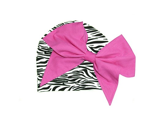Black White Zebra Print Hat with Candy Pink Bow-Rae-Mi
