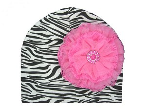 Black White Zebra Print Hat with Candy Pink Lace Rose