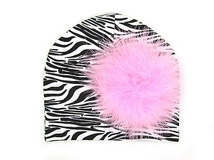 Black White Zebra Print Hat with Candy Pink Large regular Marabou