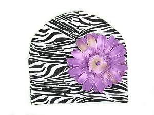 Black White Zebra Print Hat with Lavender Daisy