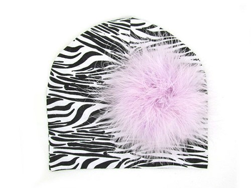 Black White Zebra Print Hat with Lavender Large regular Marabou