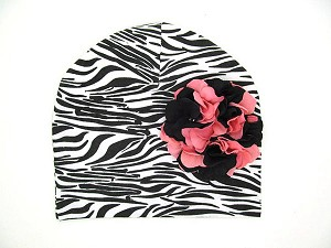 Black White Zebra Print Hat with Pink Black Large Geraniums