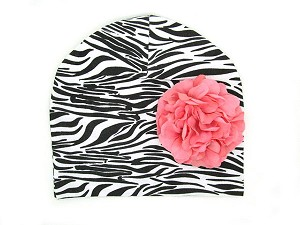 Black White Zebra Print Hat with Pale Pink Large Geraniums