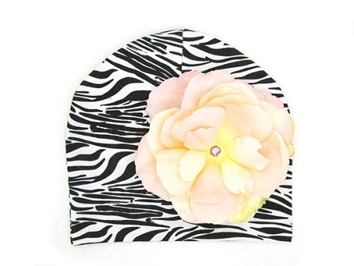 Black White Zebra Print Hat with Pale Pink Large Rose