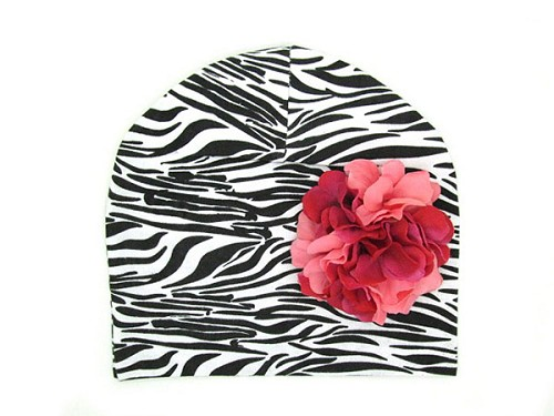 Black White Zebra Print Hat with Pink Raspberry Large Geraniums
