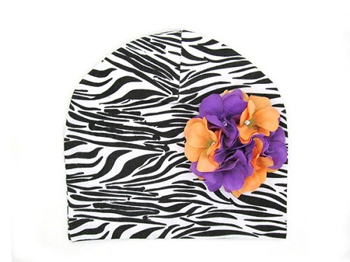 Black White Zebra Print Hat with Purple Orange Large Geraniums