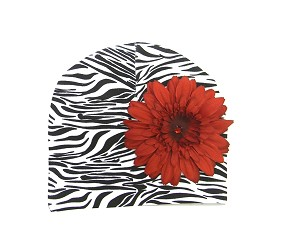 Black White Zebra Print Hat with Red Daisy