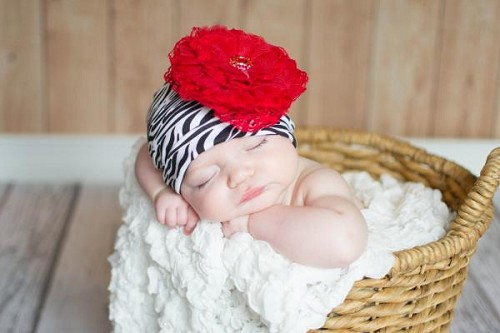 Black White Zebra Print Hat with Red Lace Rose
