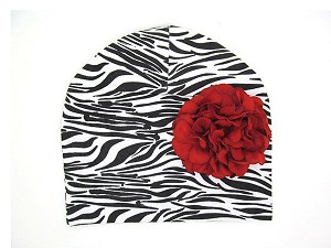 Black White Zebra Print Hat with Red Large Geraniums