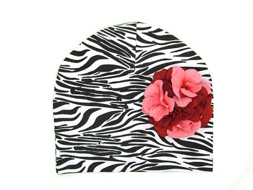 Black White Zebra Print Hat with Red Pink Large Geraniums
