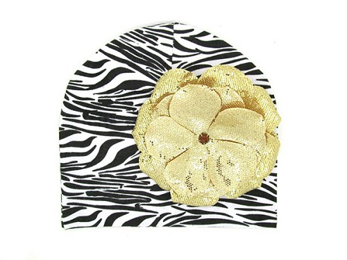 Black White Zebra Print Hat with Sequins Gold Rose