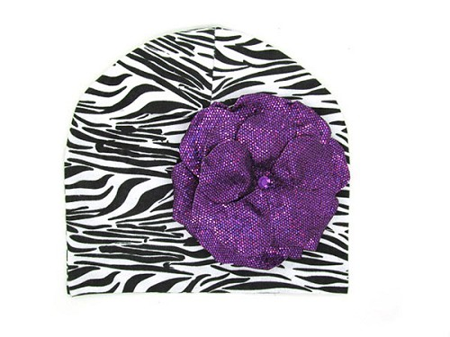 Black White Zebra Print Hat with Sequins Purple Rose